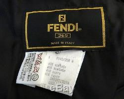 100% Authentic FENDI Womens Zucca Quilted Long Coat Black Made in Italy