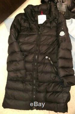 100% Authentic Moncler Jacket Puffer Bomber Coat Black Long Longline 6 8 10