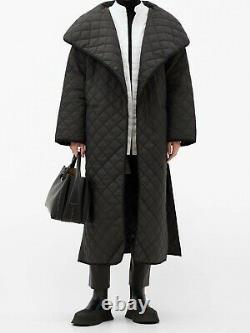 100% authentic BNWT TOTEME annecy quilted shell coat black long oversized XS