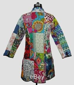 10Pc Wholesale Lot Quilted Jacket Patchwork Cotton Reversible Winter Long Coat