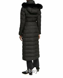 1125 New HERNO Long Hooded Coat, 42/4-6, Parka Fox Trim, Logo, Zip, Down, Quilt, NWT