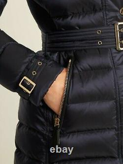 $1350 Burberry Ashmoore Navy Gold Logo Hooded Down Parka Coat Jacket Puffer L