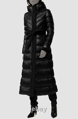 $1682 Mackage Womens Black Calina Quilted Down Belted Long Coat Jacket Size S