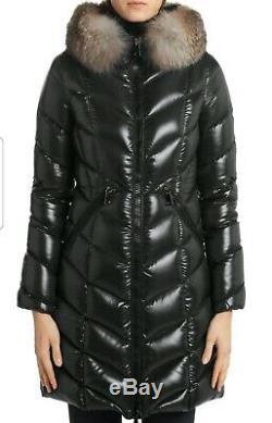 2017 MONCLER Albizia Long Black Puffa Coat Fox Fur Hood Size 00 UK 6 rrp £1.6K