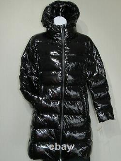 $240 MICHAEL KORS Hooded Shiny Black Quilted Down Long Coat Size M