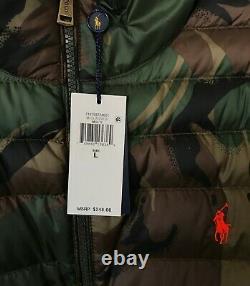 $248 NWT Mens Polo Ralph Lauren Packable Camo 750 Fill Down Puffer Jacket Green