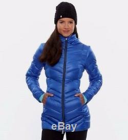 $269 NWT SPYDER SzM TIMELESS LONG DOWN HOOD COAT JACKET ROYAL BLUE