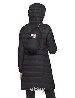 $275 Tommy Hilfiger Quilted Hooded Packable Long Jacket Down Puffer Coat L Black