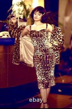 $2k DOLCE & GABBANA Rabbit Fur Jacket Coat Leopard Animal Dress 38 40 2 4 6 S M