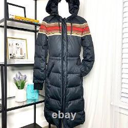 $450 Pendleton Apres Ski Black Long Zip Up Duck Down Puffer Coat Womens Small