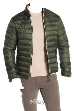 $495 Scotch & Soda Men Green Gold Long Sleeve Quilted Puffer Jacket Coat Size M