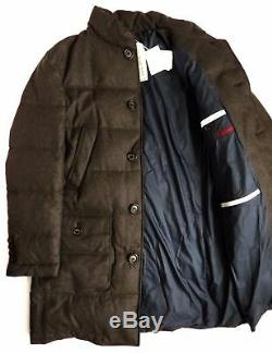 $4995 BRUNELLO CUCINELLI Long Brown Flannel London Goose Down Coat Size XL 2XL