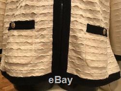 $5,580 CHANEL 2015 Ivory Logo 42 44 46 10 12 14 SUIT L Coat 15a Jacket Shirt Top
