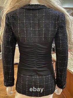 $6,270 NWT Chanel 2013 Tweed Boucle Black Jacket 34 36 2 4 6 Coat Blazer Top M S