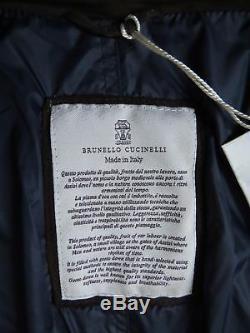 $7070 BRUNELLO CUCINELLI Long Brown Suede Leather Goose Down Coat Jacket XL-2XL