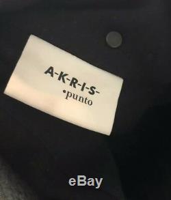 AKRIS PUNTO $1,790 Sz 8 Two-Tone Quilted Black Long Puffer Coat Wool Jacket