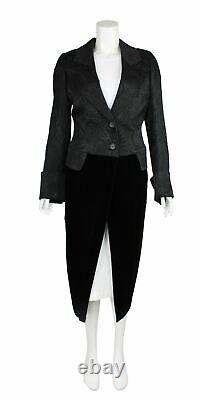 ANN DEMEULEMEESTER Black Wool Quilted Floral Lower Long Coat, UK 12 US 8 EU 40