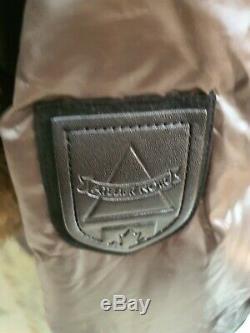 ATELIER NOIR Division Of RUDSAK Leather Trim Double Zip Down Coat KAHKI Sz. M