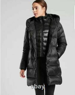 ATHLETA Lofty Down Coat M Medium Black Long Hooded Puffer Jacket NEW