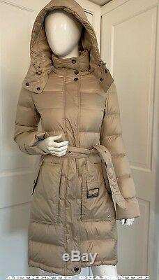 AUTHENTIC BURBERRY Brit Beige Hooded Puffer Jacket quilted Long Down Coat XS NWT
