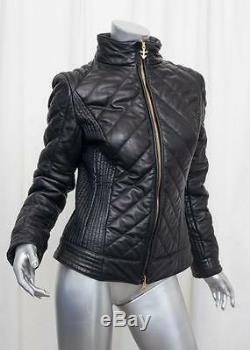 AUTHIER Womens Black Leather Quilted Long-Sleeve Moto Jacket Coat US 8/IT 42