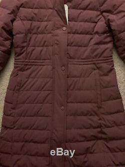 Abercrombie & Fitch Women's Long Slim-Fit Puffer Coat. Sz Medium $220 Burgandy