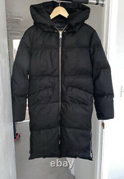All Saints Ester Long Puffer Padded Black Coat Size M UK 10-12