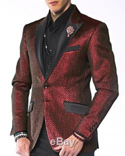 Angelino Tyler Men's Two Button Modern Fit Shiny Quilt Blazer Sport Coat Red