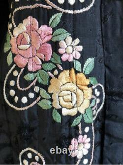 Antique Silk Coat 1920s Embroidered Long Evening Quilted Black Opera Theatre