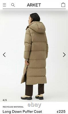 Arket Current Season Jacket Coat Long Down Puffer Small Beige Bnwt