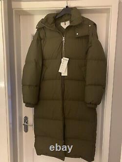 Arket Down Filled Puffer Coat Khaki Size 8 EU34 BNWT