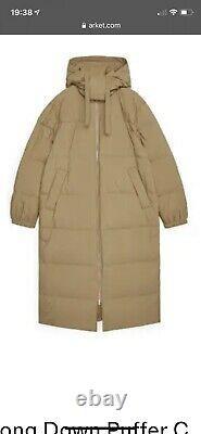 Arket Long Puffer Coat Beige Size Large