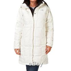 Auth North Face Metropolis 550 Down Long Quilted Coat Parka White Medium