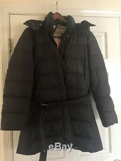 Authentic Burberry Brit Black Belted Down Quilted Puffer Warm Long Coat Size XL