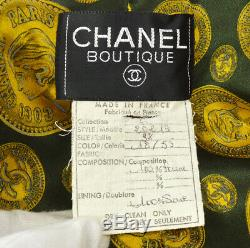 Authentic CHANEL Quilted CC Long Sleeve Buttonless Jacket Coat Green #38 AK31140