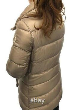 Authentic MONCLER Logo Down & Feather Long Puffer Jacket Coat Beige Size 3