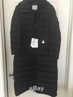 Authentic Moncler Black Long Jacket Coat Size 2 Flammong Brand New! $1,595