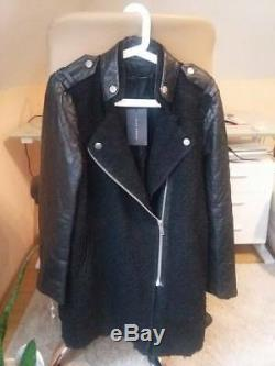 Authentic! Size XS ZARA WOMAN JACKET COAT QUILTED LEATHER SLEEVES MOHAIR BLAZER