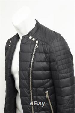 BALMAIN 2012 Mens Black Quilted Down Long-Sleeve Biker Jacket Coat 48/38
