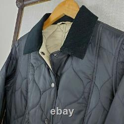 BARBOUR Size 6 US Small Womens Navy Blue Chain Quilted Corduroy Collar Jacket