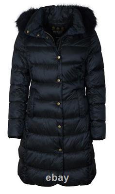 BARBOUR Womens Black Earn Long Quilted Jacket Coat Ladies UK 16 XL BNWT