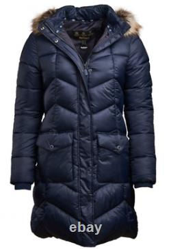 BARBOUR Womens Navy Blue Clam Quilted Jacket Coat Ladies Medium 12 BNWT