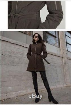 BCBGMaxAzria Quilted Krystal Zipped Long Bomber Coat Jacket Sz L $278