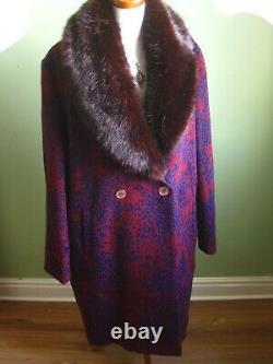 BIBA LA PARISIENNE full length leopard print wool COAT UK 18 16 faux fur collar