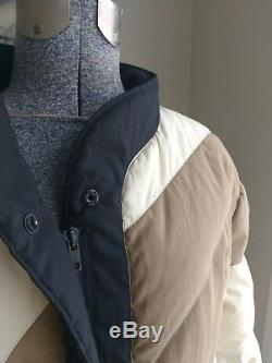BILL BLASS Vintage Long Down Puffer Quilted Color Block Coat Jacket 10 USA