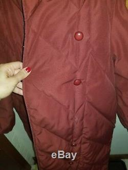 BILL BLASS Vintage Long Down Puffer Quilted Color Merlot Coat Jacket 10 USA