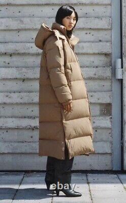 BNWT Arket Camel Puffer Long Down Quilted Jacket Coat Tan Brown XS 34 6 8