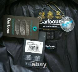 BNWT Barbour International Lineout Fibre Down Black Long Quilted Coat UK 10 £239