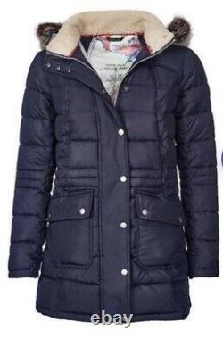 BNWT Barbour Navy Long Quilted Coat Jacket Size 8 Rrp £270 One Day Auction