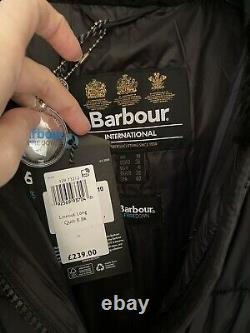 BNWT Barbour international Size 10 lineout long quilted coat Black Sold out